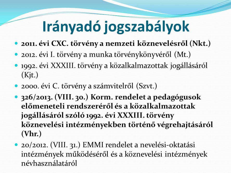 Irányadó jogszabályok  2011. évi CXC. törvény a nemzeti köznevelésről (Nkt.)  2012. évi I. törvény a munka törvénykönyvéről (Mt.)  1992. évi XXXIII