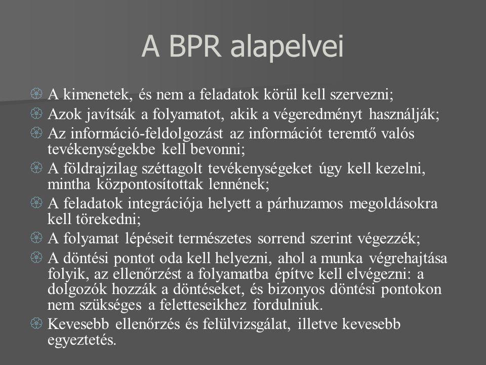 A BPR alapelvei  A kimenetek, és nem a feladatok körül kell szervezni;  Azok javítsák a folyamatot, akik a végeredményt használják;  Az információ-