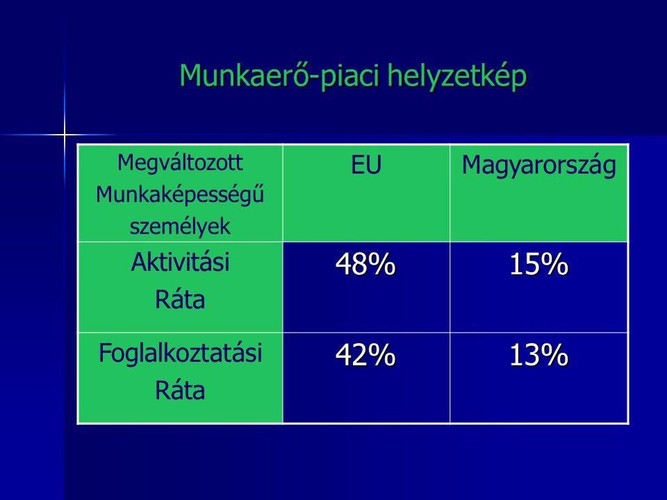 Munkaerő-piaci helyzetkép Megváltozott Munkaképességű személyek EUMagyarország Aktivitási Ráta48%15% Foglalkoztatási Ráta42%13%