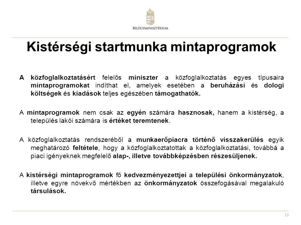 13 Kistérségi startmunka mintaprogramok A közfoglalkoztatásért felelős miniszter a közfoglalkoztatás egyes típusaira mintaprogramokat indíthat el, ame