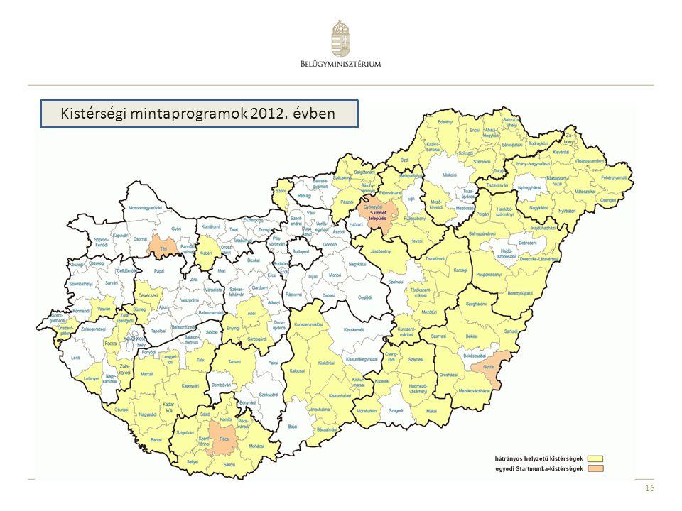 16 Kistérségi mintaprogramok 2012. évben