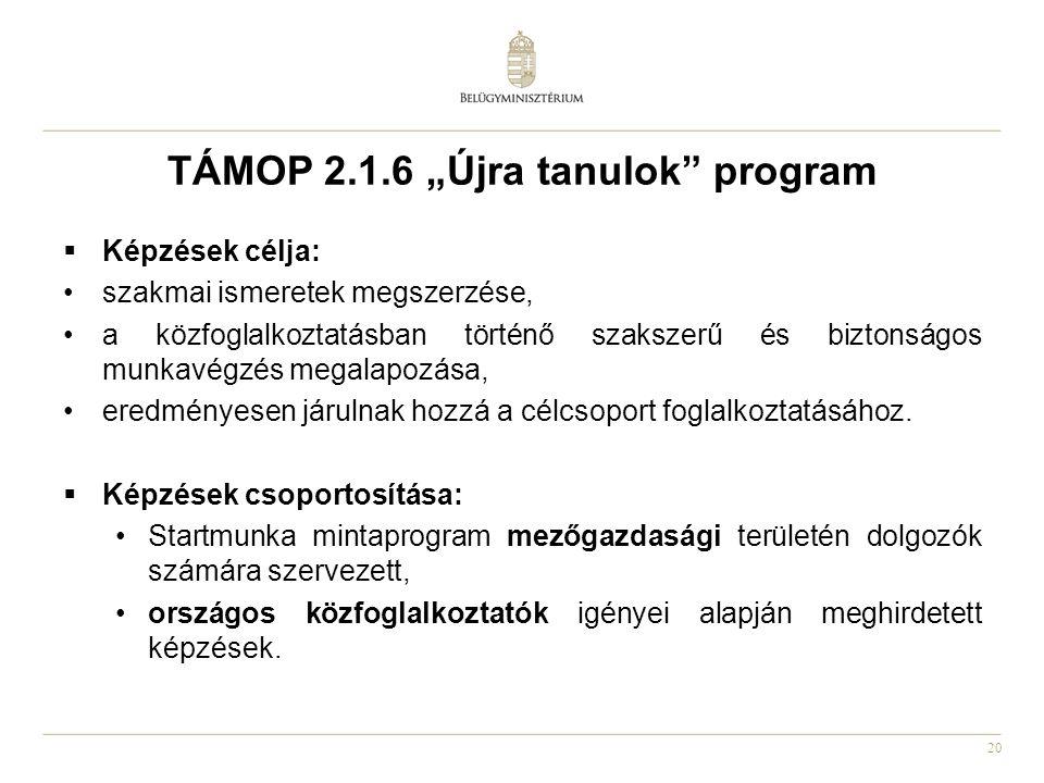 """20 TÁMOP 2.1.6 """"Újra tanulok"""" program  Képzések célja: •szakmai ismeretek megszerzése, •a közfoglalkoztatásban történő szakszerű és biztonságos munka"""