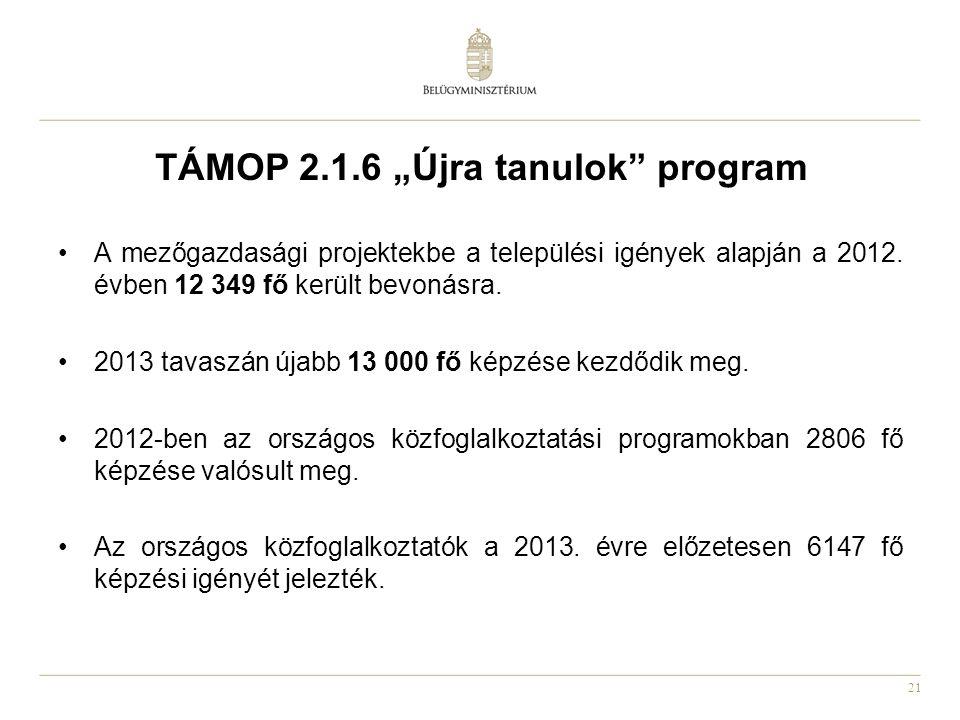 """21 TÁMOP 2.1.6 """"Újra tanulok"""" program •A mezőgazdasági projektekbe a települési igények alapján a 2012. évben 12 349 fő került bevonásra. •2013 tavasz"""