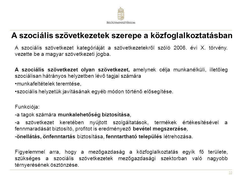 22 A szociális szövetkezetek szerepe a közfoglalkoztatásban A szociális szövetkezet kategóriáját a szövetkezetekről szóló 2006. évi X. törvény. vezett
