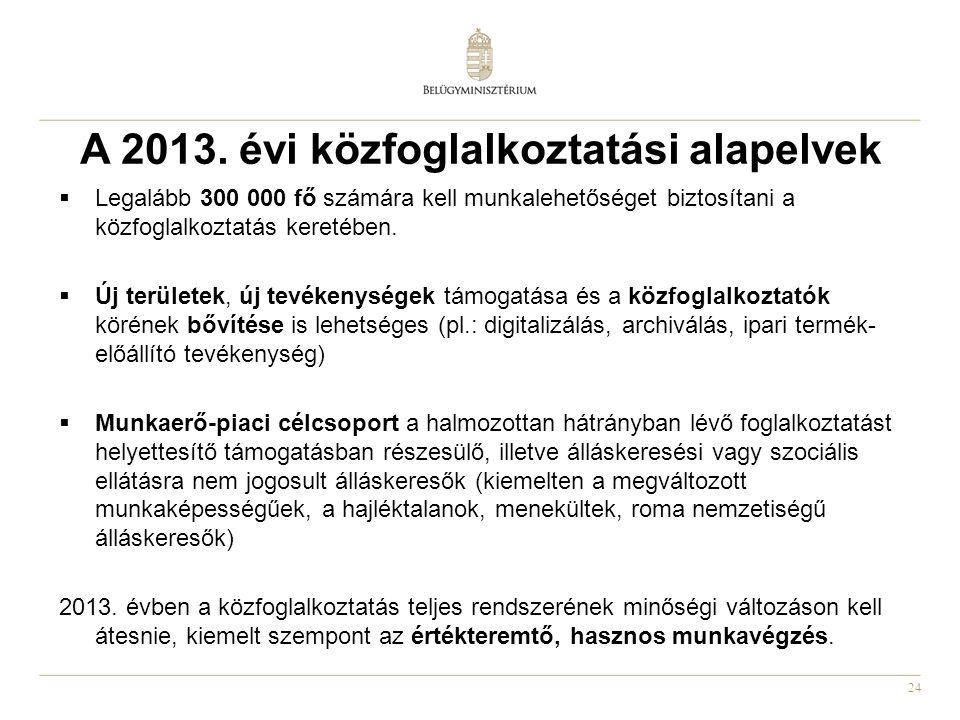 24 A 2013. évi közfoglalkoztatási alapelvek  Legalább 300 000 fő számára kell munkalehetőséget biztosítani a közfoglalkoztatás keretében.  Új terüle
