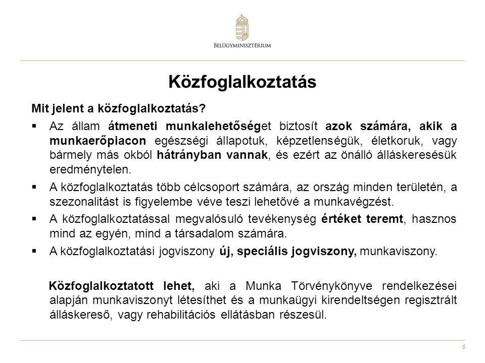 6 Közfoglalkoztatás Mit jelent a közfoglalkoztatás?  Az állam átmeneti munkalehetőséget biztosít azok számára, akik a munkaerőpiacon egészségi állapo