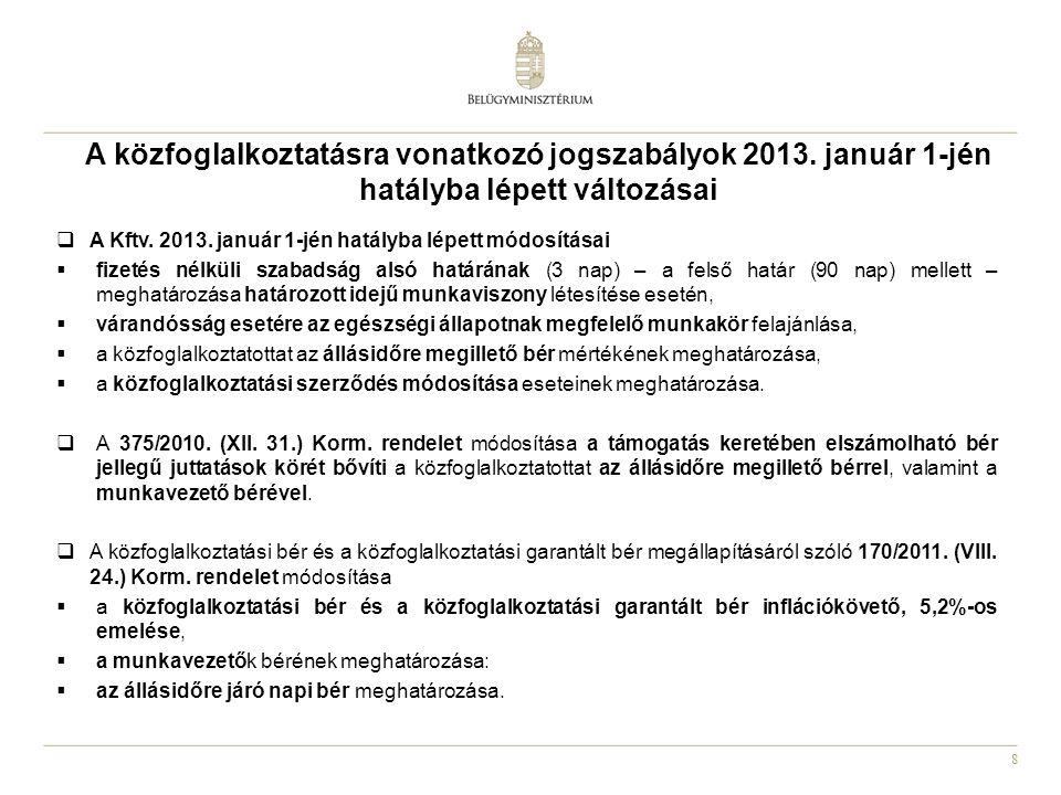 9 A közfoglalkoztatással összefüggésben egyéb jogszabályok 2013.