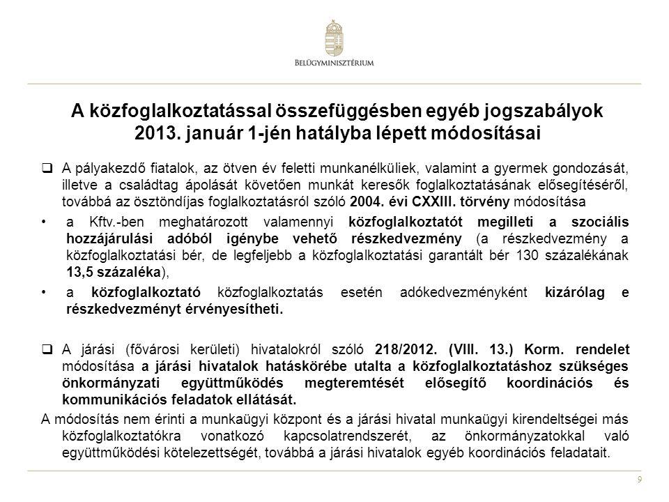 9 A közfoglalkoztatással összefüggésben egyéb jogszabályok 2013. január 1-jén hatályba lépett módosításai  A pályakezdő fiatalok, az ötven év feletti