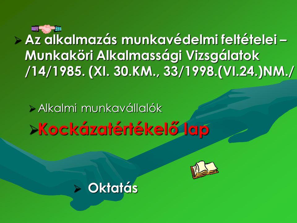 Az alkalmazás munkavédelmi feltételei – Munkaköri Alkalmassági Vizsgálatok /14/1985. (XI. 30.KM., 33/1998.(VI.24.)NM./  Alkalmi munkavállalók  Koc