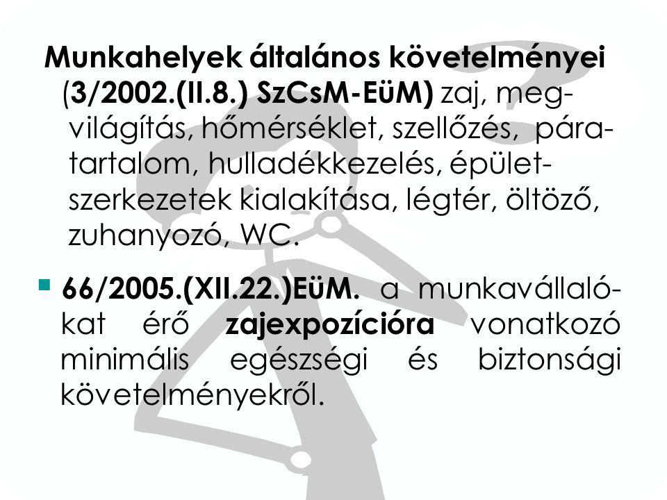 Munkahelyek általános követelményei ( 3/2002.(II.8.) SzCsM-EüM) zaj, meg- világítás, hőmérséklet, szellőzés, pára- tartalom, hulladékkezelés, épület-