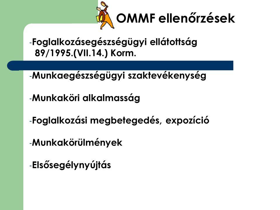 OMMF ellenőrzések - Foglalkozásegészségügyi ellátottság 89/1995.(VII.14.) Korm. - Munkaegészségügyi szaktevékenység - Munkaköri alkalmasság - Foglalko