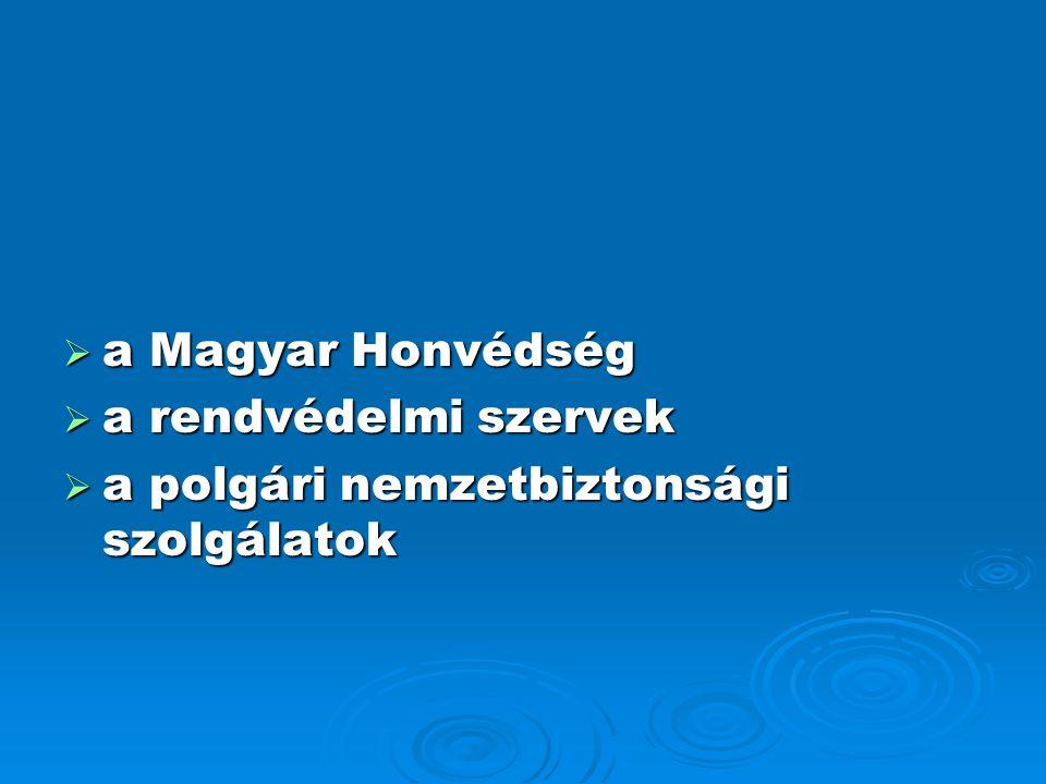  a Magyar Honvédség  a rendvédelmi szervek  a polgári nemzetbiztonsági szolgálatok