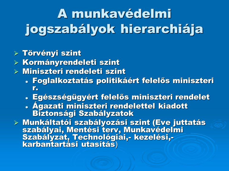 A munkavédelmi jogszabályok hierarchiája  Törvényi szint  Kormányrendeleti szint  Miniszteri rendeleti szint  Foglalkoztatás politikáért felelős m