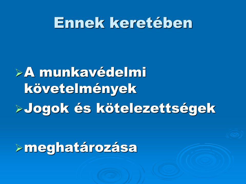Ennek keretében  A munkavédelmi követelmények  Jogok és kötelezettségek  meghatározása