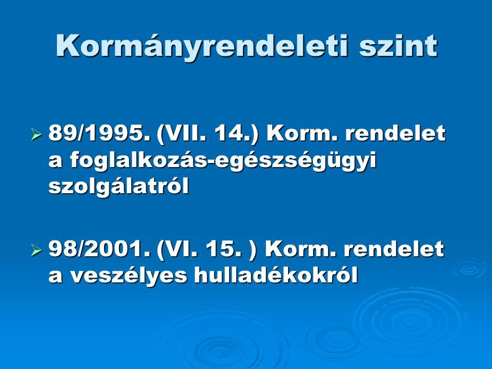 Kormányrendeleti szint  89/1995. (VII. 14.) Korm. rendelet a foglalkozás-egészségügyi szolgálatról  98/2001. (VI. 15. ) Korm. rendelet a veszélyes h