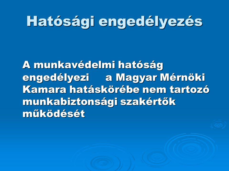 Hatósági engedélyezés A munkavédelmi hatóság engedélyezi a Magyar Mérnöki Kamara hatáskörébe nem tartozó munkabiztonsági szakértők működését