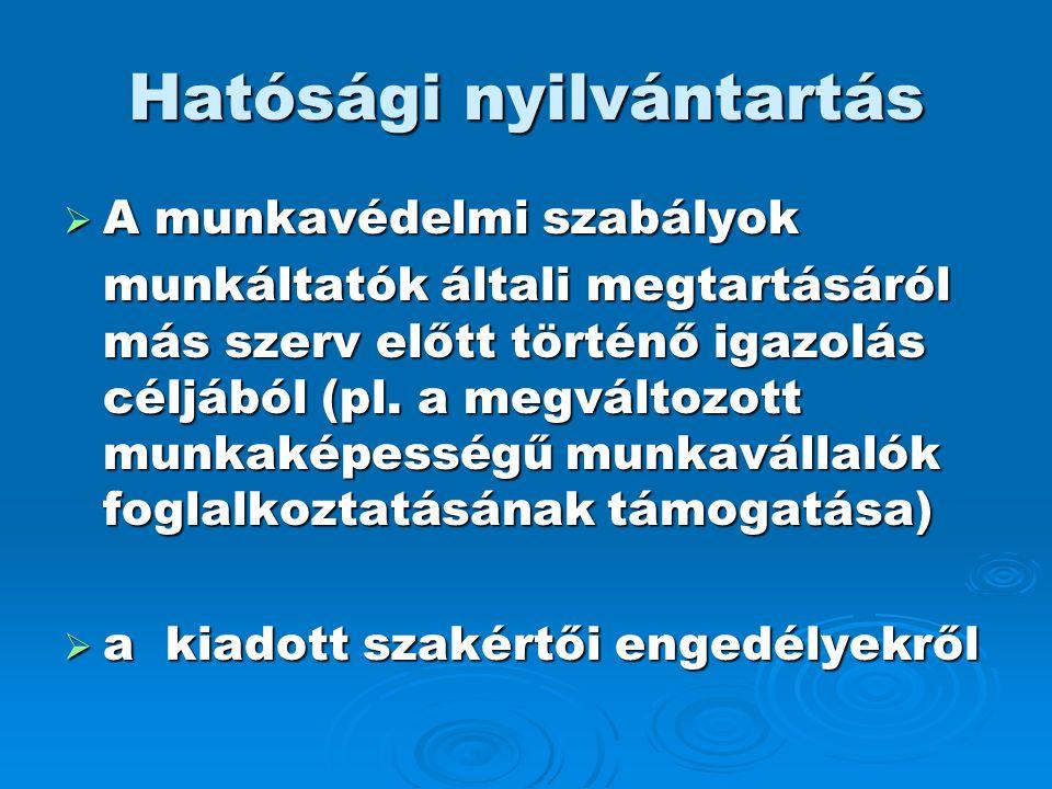 Hatósági nyilvántartás  A munkavédelmi szabályok munkáltatók általi megtartásáról más szerv előtt történő igazolás céljából (pl. a megváltozott munka