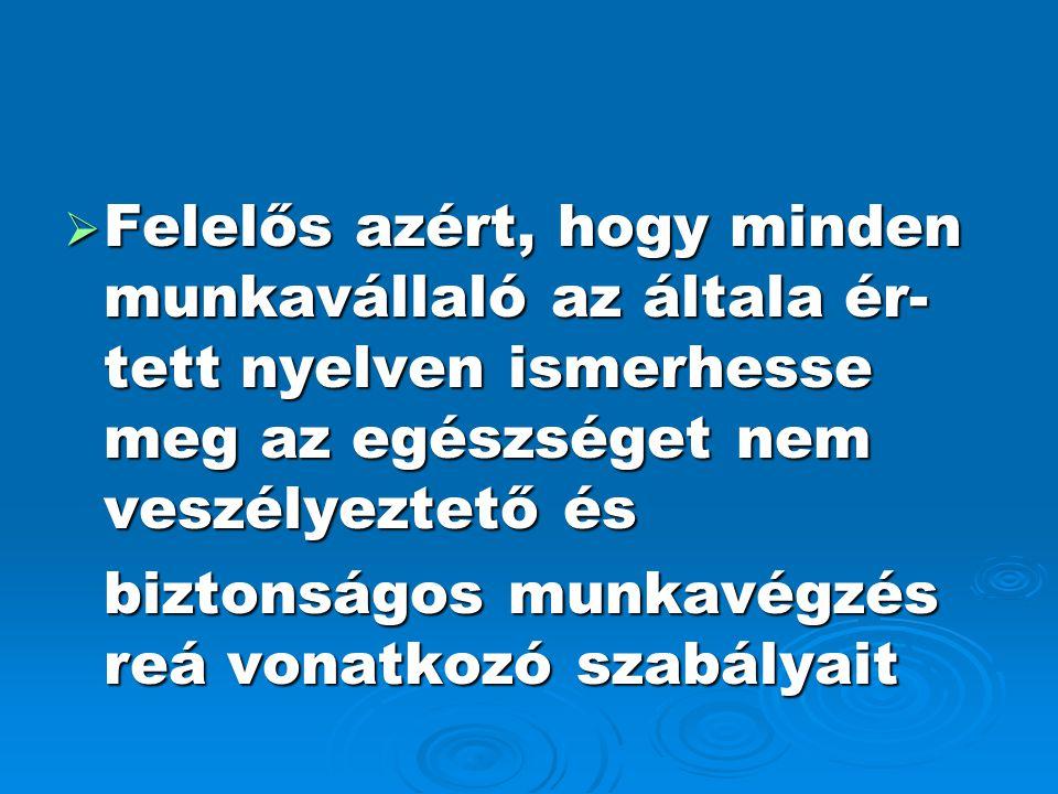  Felelős azért, hogy minden munkavállaló az általa ér- tett nyelven ismerhesse meg az egészséget nem veszélyeztető és biztonságos munkavégzés reá von
