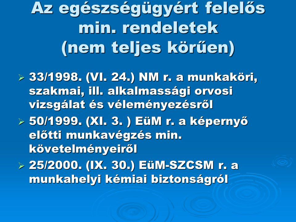 Az egészségügyért felelős min. rendeletek (nem teljes körűen)  33/1998. (VI. 24.) NM r. a munkaköri, szakmai, ill. alkalmassági orvosi vizsgálat és v