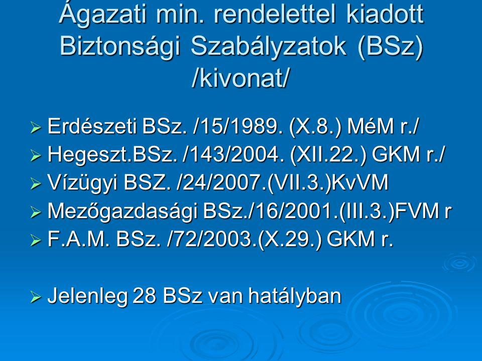 Ágazati min. rendelettel kiadott Biztonsági Szabályzatok (BSz) /kivonat/  Erdészeti BSz. /15/1989. (X.8.) MéM r./  Hegeszt.BSz. /143/2004. (XII.22.)