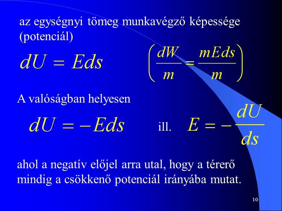 10 az egységnyi tömeg munkavégző képessége (potenciál) A valóságban helyesen ill. ahol a negatív előjel arra utal, hogy a térerő mindig a csökkenő pot
