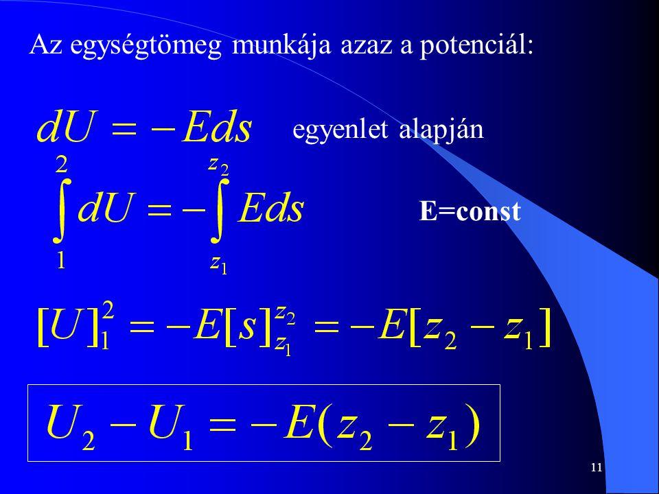 11 Az egységtömeg munkája azaz a potenciál: egyenlet alapján E=const