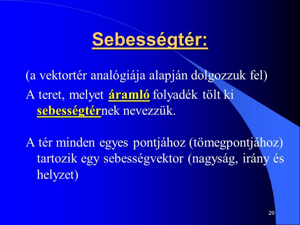 20 Sebességtér: (a vektortér analógiája alapján dolgozzuk fel) áramló sebességtér A teret, melyet áramló folyadék tölt ki sebességtérnek nevezzük. A t
