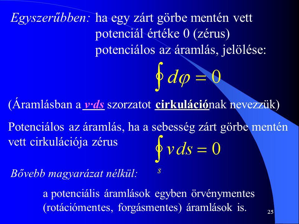 25 Egyszerűbben:ha egy zárt görbe mentén vett potenciál értéke 0 (zérus) potenciálos az áramlás, jelölése: cirkuláció (Áramlásban a v·ds szorzatot cir
