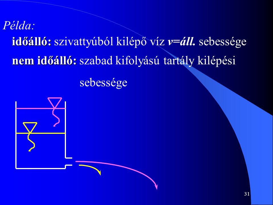 31 Példa: időálló: időálló: szivattyúból kilépő víz v=áll. sebessége nem időálló: nem időálló: szabad kifolyású tartály kilépési sebessége