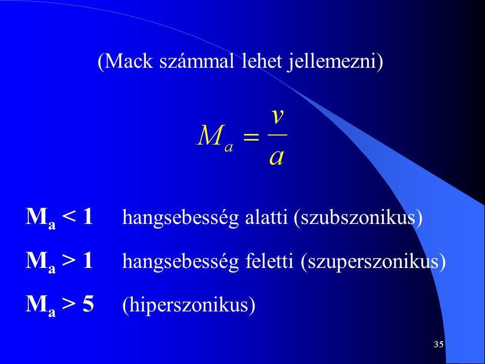35 (Mack számmal lehet jellemezni) M a < 1 hangsebesség alatti (szubszonikus) M a > 1 hangsebesség feletti (szuperszonikus) M a > 5 (hiperszonikus)