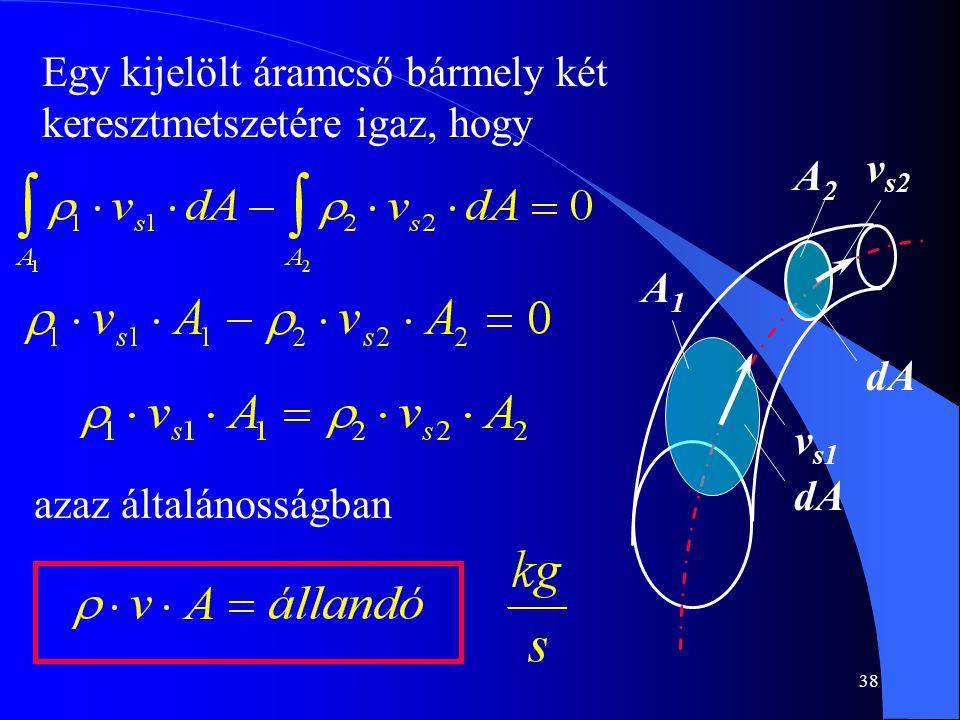 38 A1A1 dA A2A2 v s1 v s2 Egy kijelölt áramcső bármely két keresztmetszetére igaz, hogy azaz általánosságban