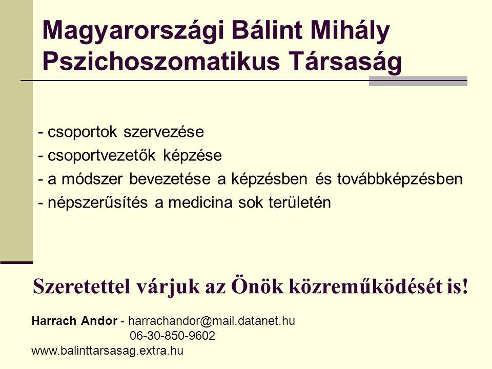 Magyarországi Bálint Mihály Pszichoszomatikus Társaság - csoportok szervezése - csoportvezetők képzése - a módszer bevezetése a képzésben és továbbképzésben - népszerűsítés a medicina sok területén Szeretettel várjuk az Önök közreműködését is.
