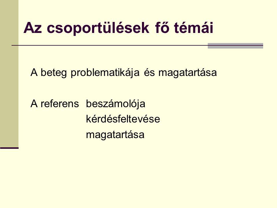 Az csoportülések fő témái A beteg problematikája és magatartása A referens beszámolója kérdésfeltevése magatartása