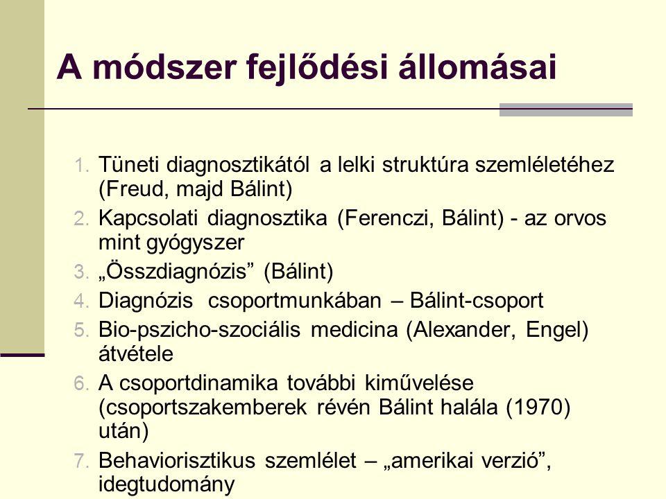 A módszer fejlődési állomásai 1. Tüneti diagnosztikától a lelki struktúra szemléletéhez (Freud, majd Bálint) 2. Kapcsolati diagnosztika (Ferenczi, Bál