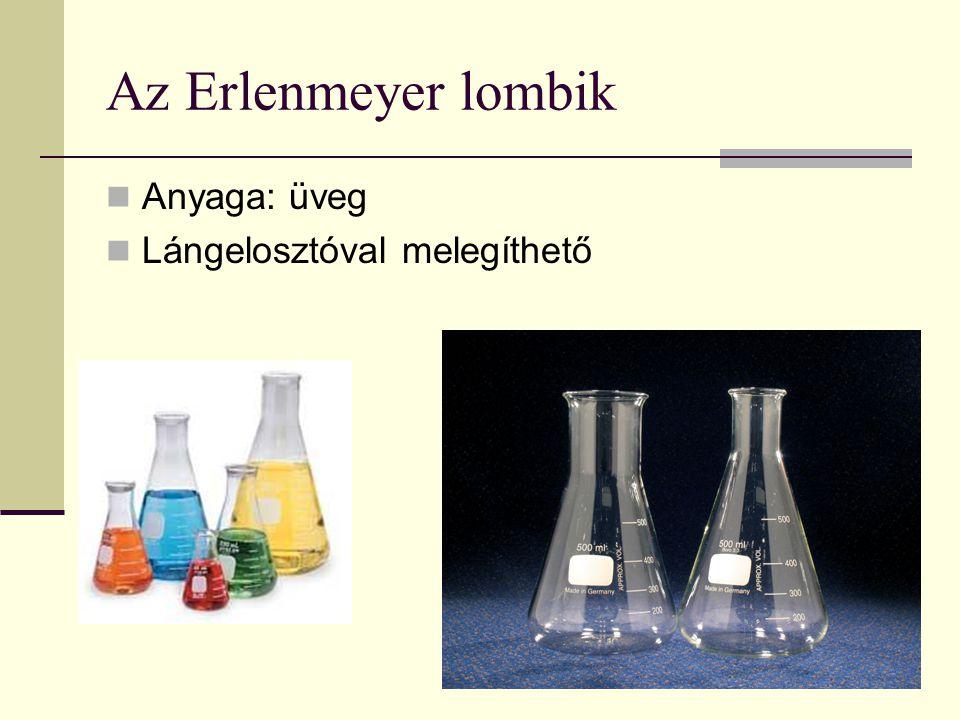 Az Erlenmeyer lombik  Anyaga: üveg  Lángelosztóval melegíthető