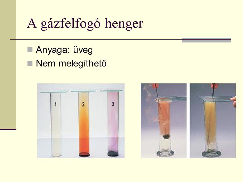 A gázfelfogó henger  Anyaga: üveg  Nem melegíthető