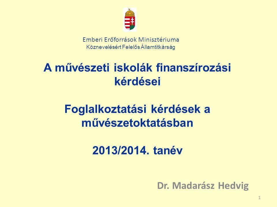 1 A művészeti iskolák finanszírozási kérdései Foglalkoztatási kérdések a művészetoktatásban 2013/2014.
