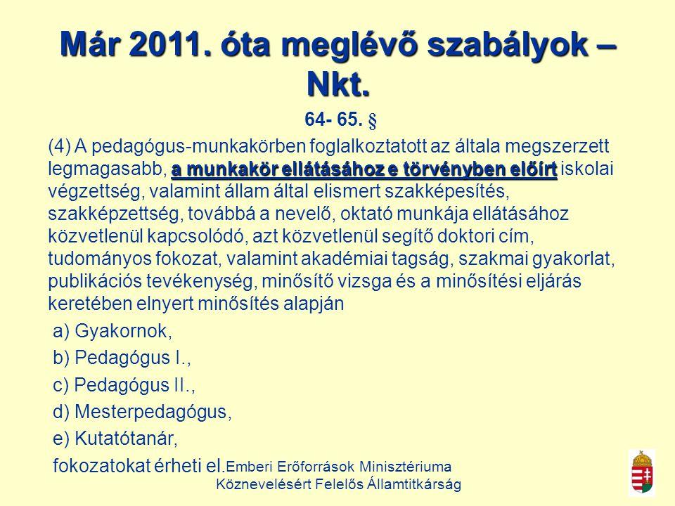 Emberi Erőforrások Minisztériuma Köznevelésért Felelős Államtitkárság Már 2011.