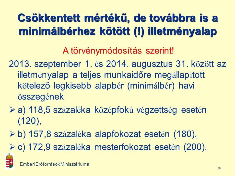 30 Csökkentett mértékű, de továbbra is a minimálbérhez kötött (!) illetményalap A törvénymódosítás szerint.