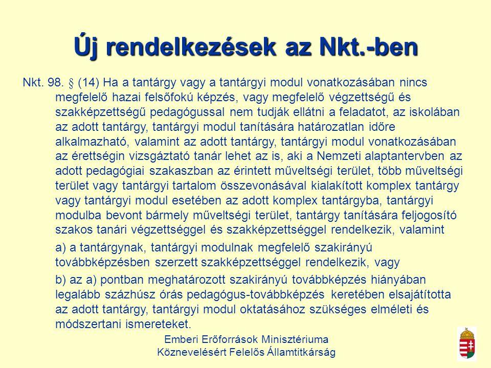Emberi Erőforrások Minisztériuma Köznevelésért Felelős Államtitkárság Új rendelkezések az Nkt.-ben Nkt.