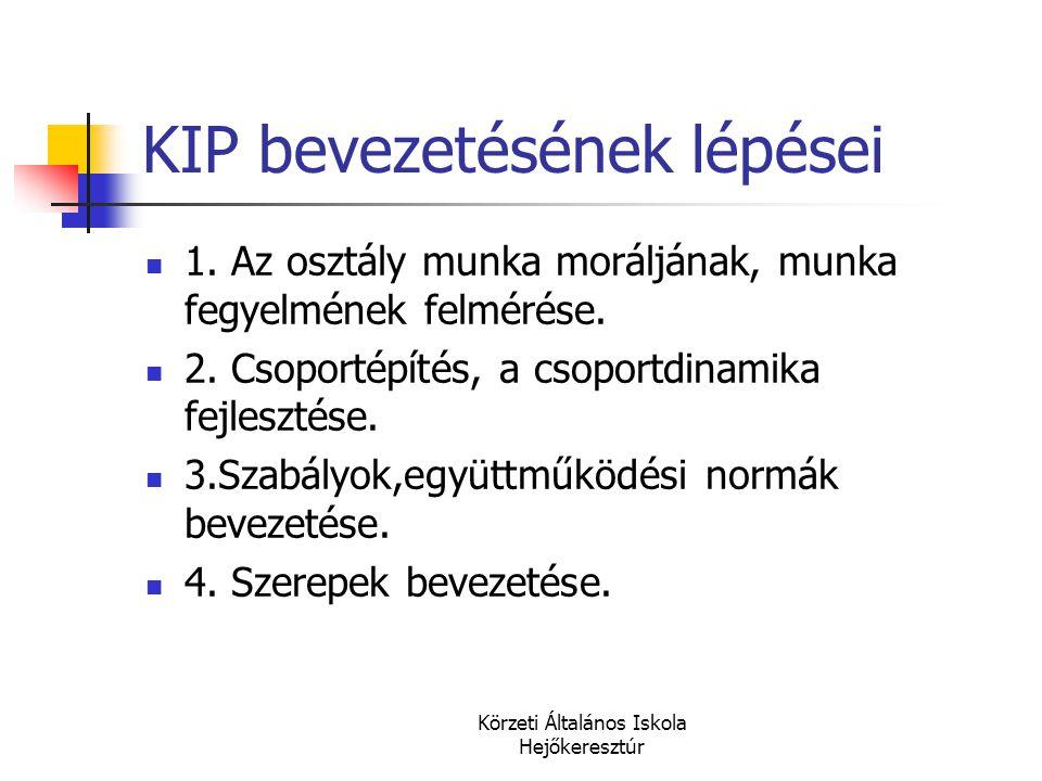 Körzeti Általános Iskola Hejőkeresztúr KIP bevezetésének lépései  1. Az osztály munka moráljának, munka fegyelmének felmérése.  2. Csoportépítés, a