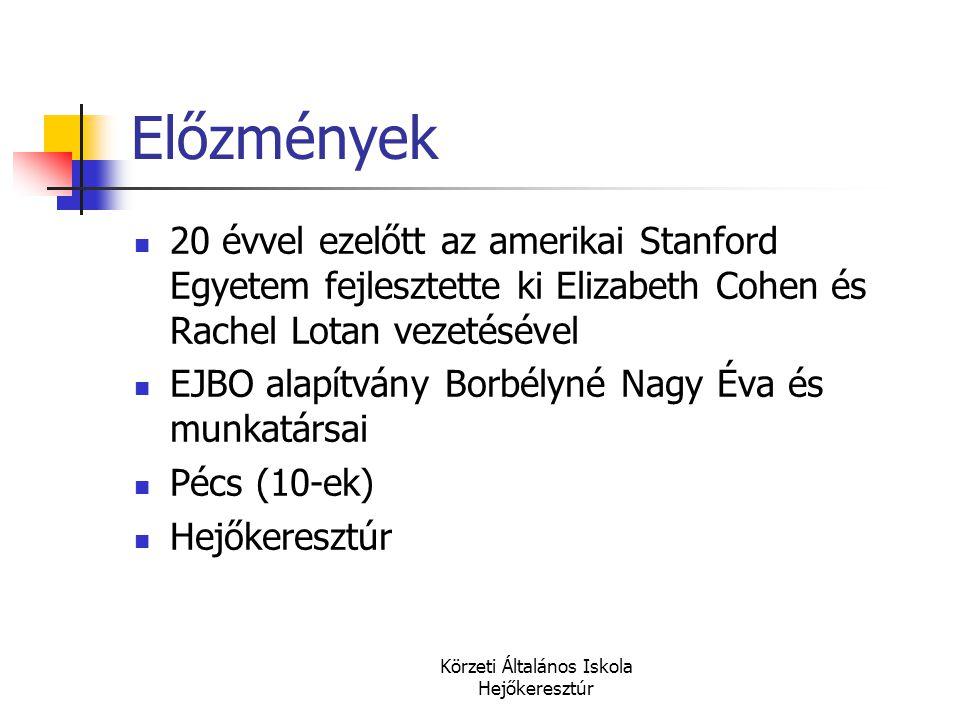 Körzeti Általános Iskola Hejőkeresztúr Előzmények  20 évvel ezelőtt az amerikai Stanford Egyetem fejlesztette ki Elizabeth Cohen és Rachel Lotan veze