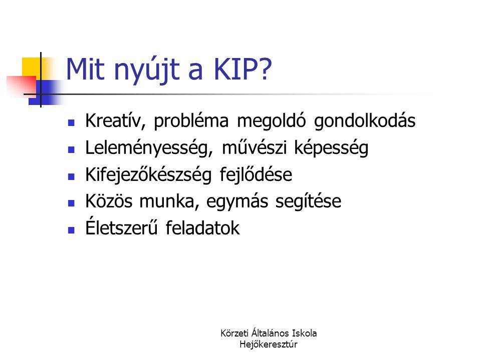 Körzeti Általános Iskola Hejőkeresztúr Mit nyújt a KIP?  Kreatív, probléma megoldó gondolkodás  Leleményesség, művészi képesség  Kifejezőkészség fe