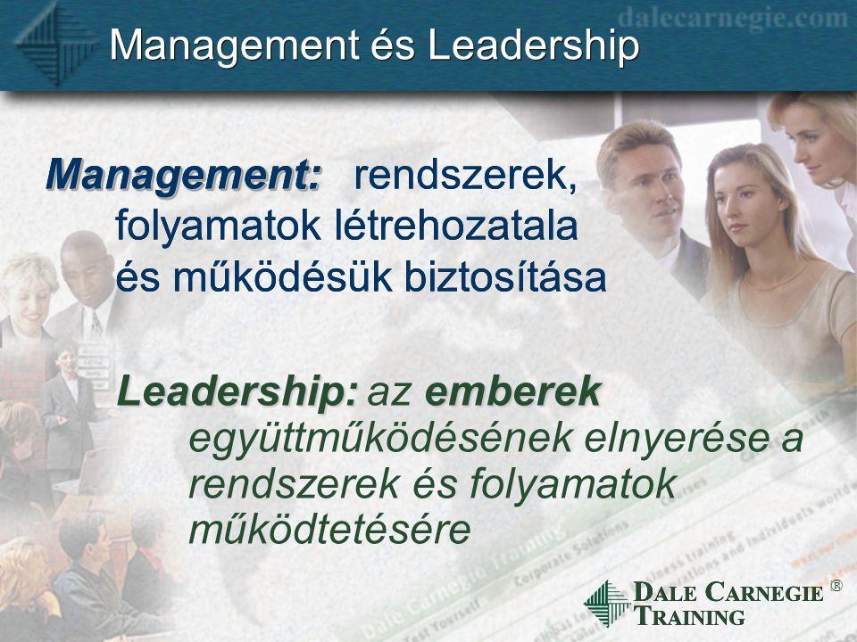 D ALE C ARNEGIE T RAINING  Management és Leadership Leadership: Management:Management: rendszerek, folyamatok létrehozatala és működésük biztosítása emberek az emberek együttműködésének elnyerése a rendszerek és folyamatok működtetésére
