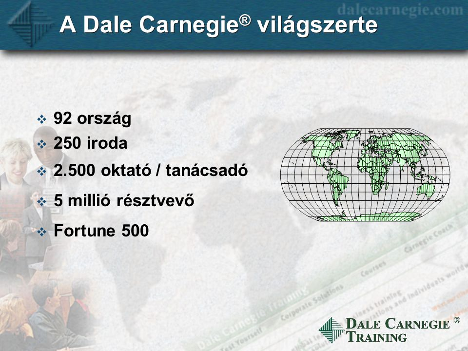 D ALE C ARNEGIE T RAINING  A Dale Carnegie ® világszerte  92 ország  250 iroda  2.500 oktató / tanácsadó  5 millió résztvevő  Fortune 500