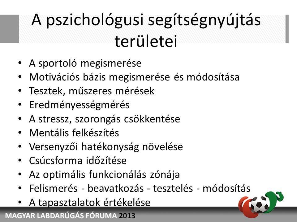 A pszichológusi segítségnyújtás területei • A sportoló megismerése • Motivációs bázis megismerése és módosítása • Tesztek, műszeres mérések • Eredményességmérés • A stressz, szorongás csökkentése • Mentális felkészítés • Versenyzői hatékonyság növelése • Csúcsforma időzítése • Az optimális funkcionálás zónája • Felismerés - beavatkozás - tesztelés - módosítás • A tapasztalatok értékelése