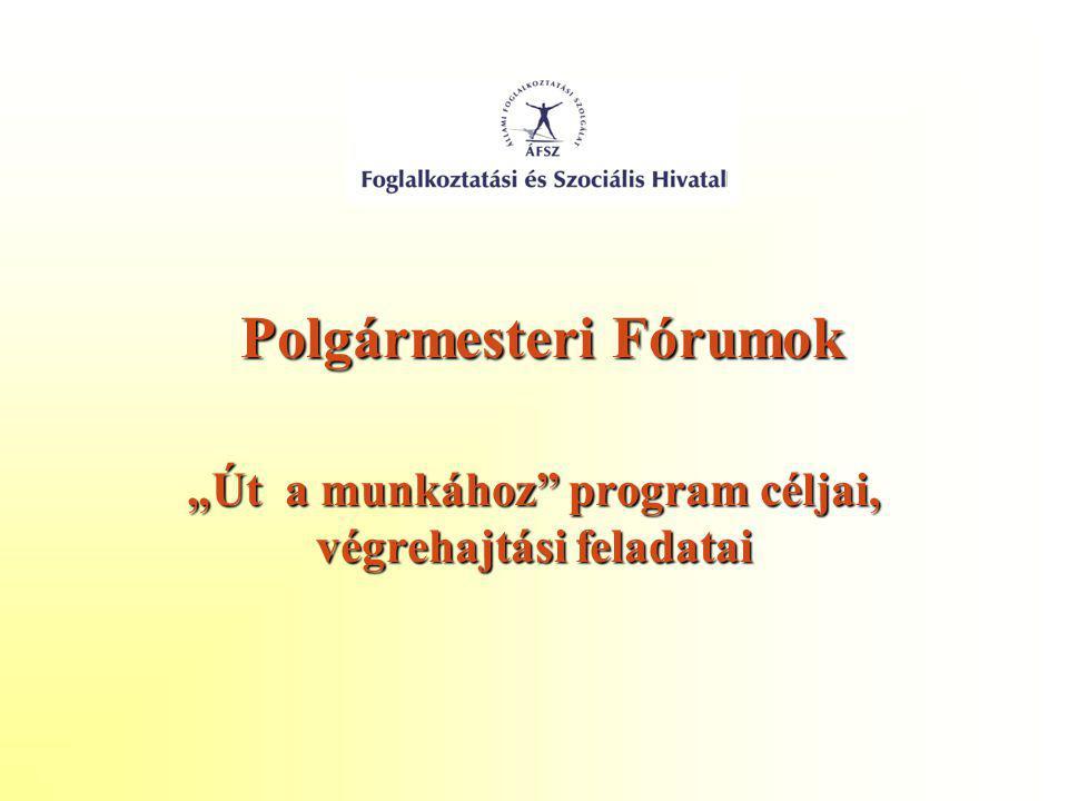 """Polgármesteri Fórumok Polgármesteri Fórumok """"Út a munkához"""" program céljai, végrehajtási feladatai"""