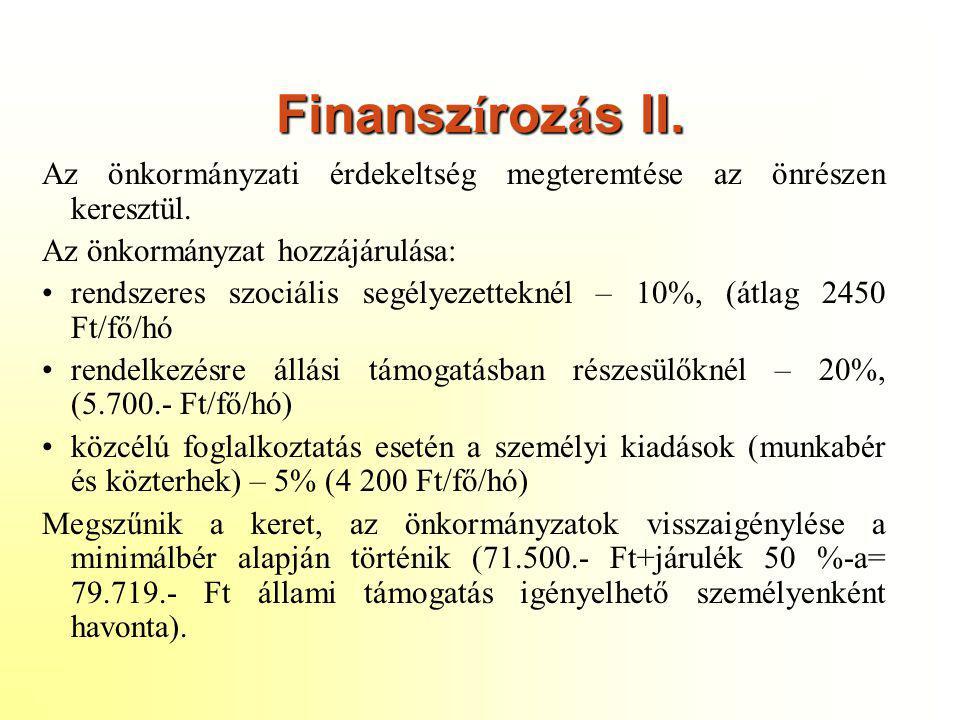 Finansz í roz á s II. Az önkormányzati érdekeltség megteremtése az önrészen keresztül. Az önkormányzat hozzájárulása: •rendszeres szociális segélyezet
