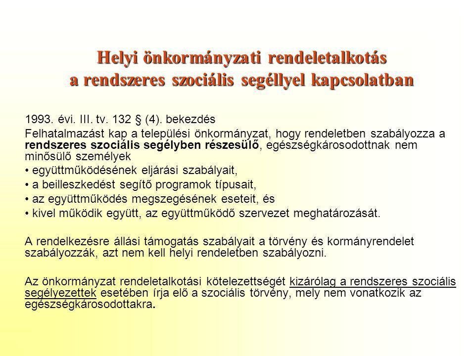Helyi önkormányzati rendeletalkotás a rendszeres szociális segéllyel kapcsolatban 1993. évi. III. tv. 132 § (4). bekezdés Felhatalmazást kap a települ