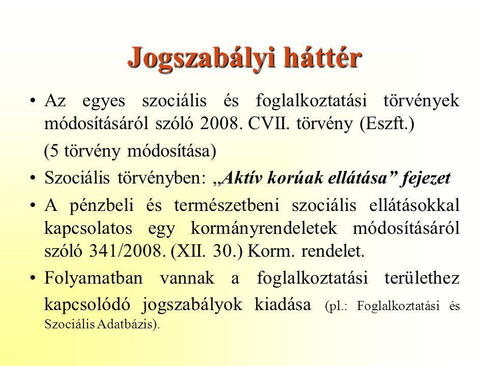 Jogszabályi háttér •Az egyes szociális és foglalkoztatási törvények módosításáról szóló 2008. CVII. törvény (Eszft.) (5 törvény módosítása) •Szociális